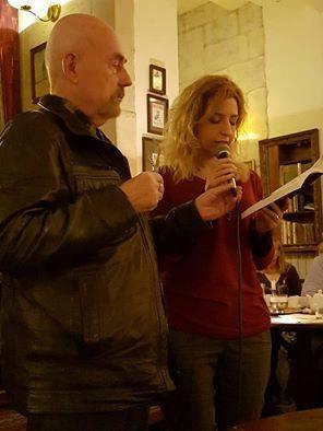 8.Mara Venuto z Aleksandrem Nawrockim w kawiarni Antrakt przy Teatrze Wielkim