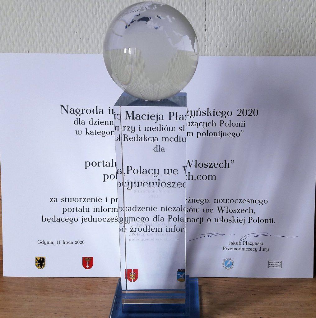 https://www.polacywewloszech.com/2020/07/11/uroczystosc-wreczenia-nagrody-im-macieja-plazynskiego-dziennikarzom-i-mediom-sluzacym-polonii-statuetka-dla-portalu-polacy-we-wloszech